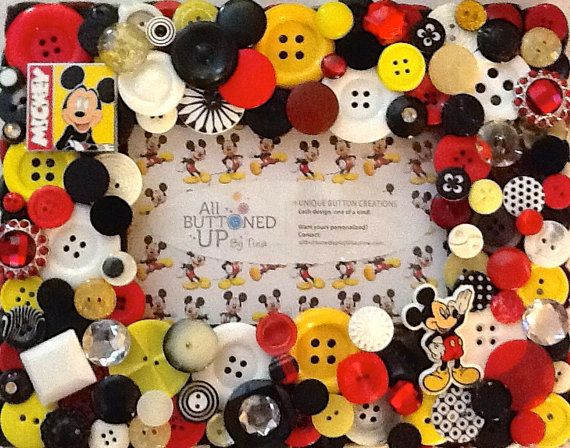 Mickey Mouse Button Picture Frame In Black, White, Red and Yellow for 4x6 photo via Etsy