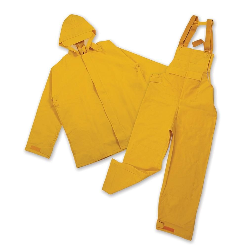 Stansport PVC/Polyester Commercial Rain Suit-Yellow Large