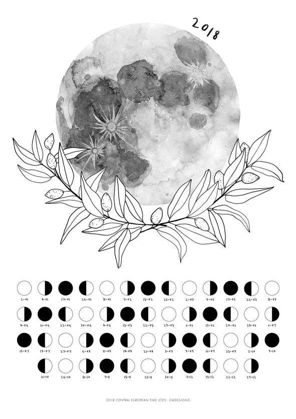 Calendrier Pinterest.Calendrier 2018 Calendrier Lunaire Poster De Lune Phases De