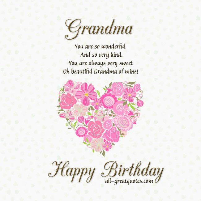 Cute Red Flower Birthday Card For Grandma Sweet And Fresh Flowers