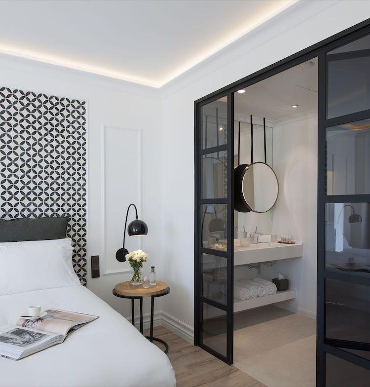 décoration chambre adulte salle de bain suite parentale noir et