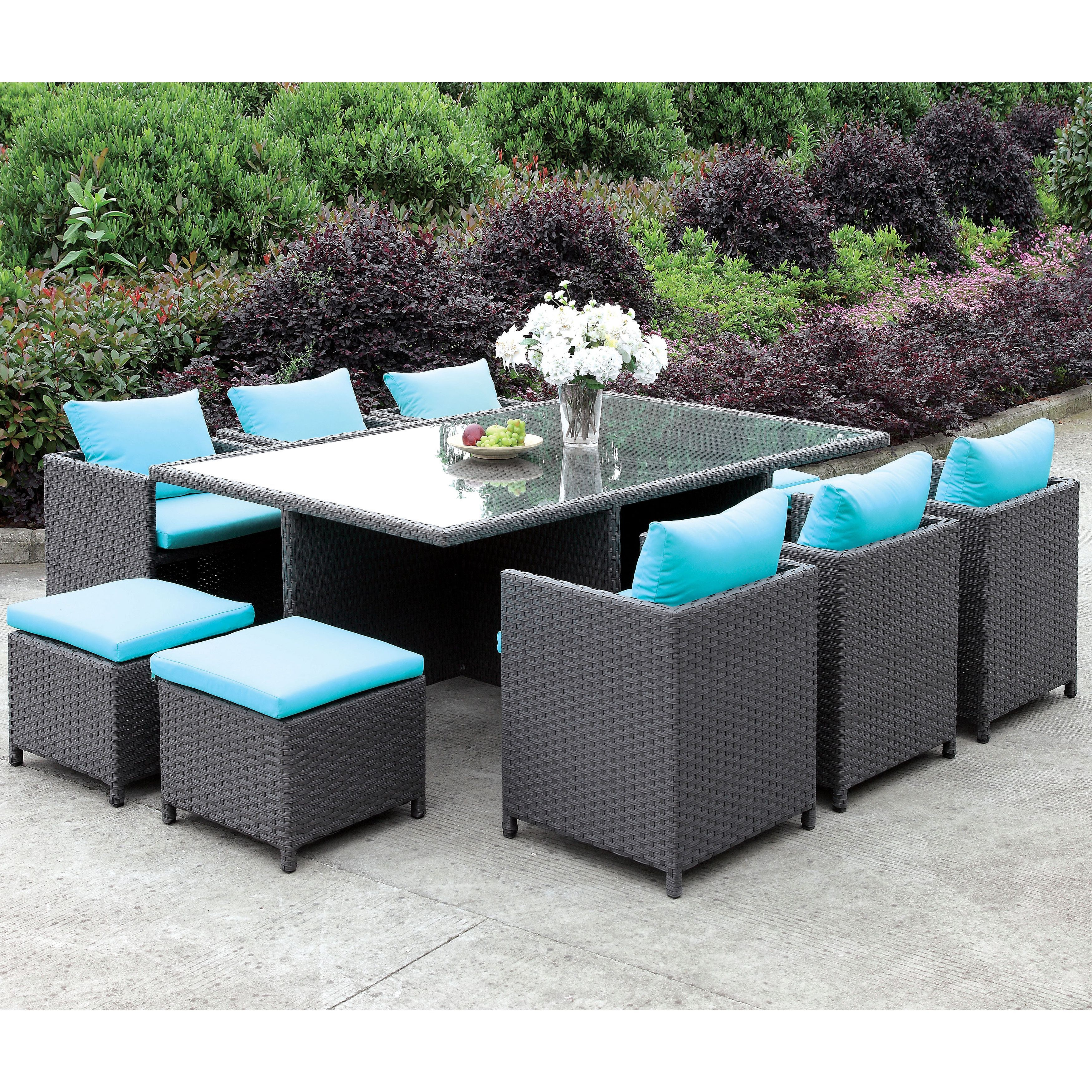 Furniture Of America Lani Contemporary 11 Piece Turquoise Light