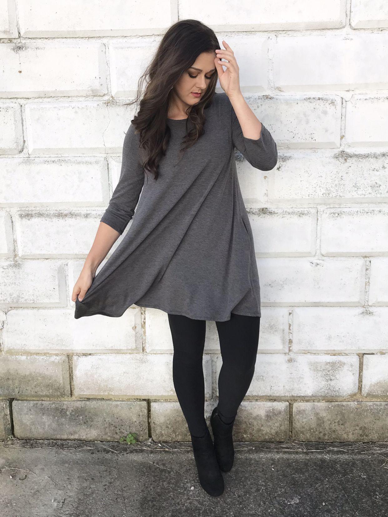 Fall Fashion Gray Tunic Dress Tunic Dress With Leggings Tunic Outfit Gray Tunic Outfit [ 1656 x 1242 Pixel ]