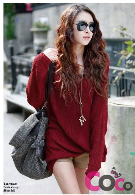 93fdfc5d62 Red Oversized Korean Fashion Sweater With Trendy Bat Sleeves
