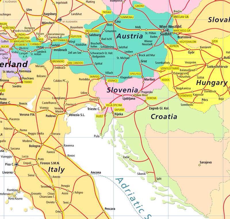 Austria / Slovenia Map Map, Germany, Austria