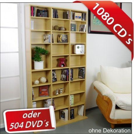 profiwelten cd dvd regal 102x23x180cm ahorn mocca schwarz weiss bis1080cds regalwand bei. Black Bedroom Furniture Sets. Home Design Ideas