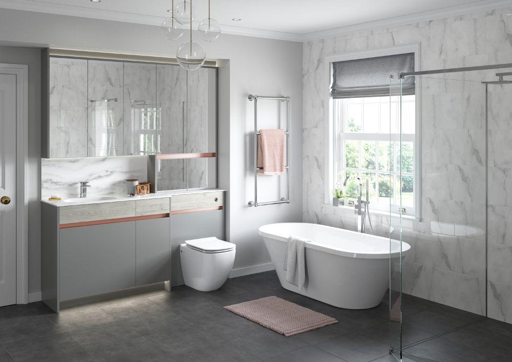 Contemporary Fitted Bathroom Furniture Range From Utopia Bathrooms In Sandwashed White With A Copper Effect Metallic Handle Strip Rekonstrukciya Dushevoj
