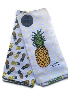 Cynthia Rowley Home Decor Kitchen Towels Pineapple 2 Pack.