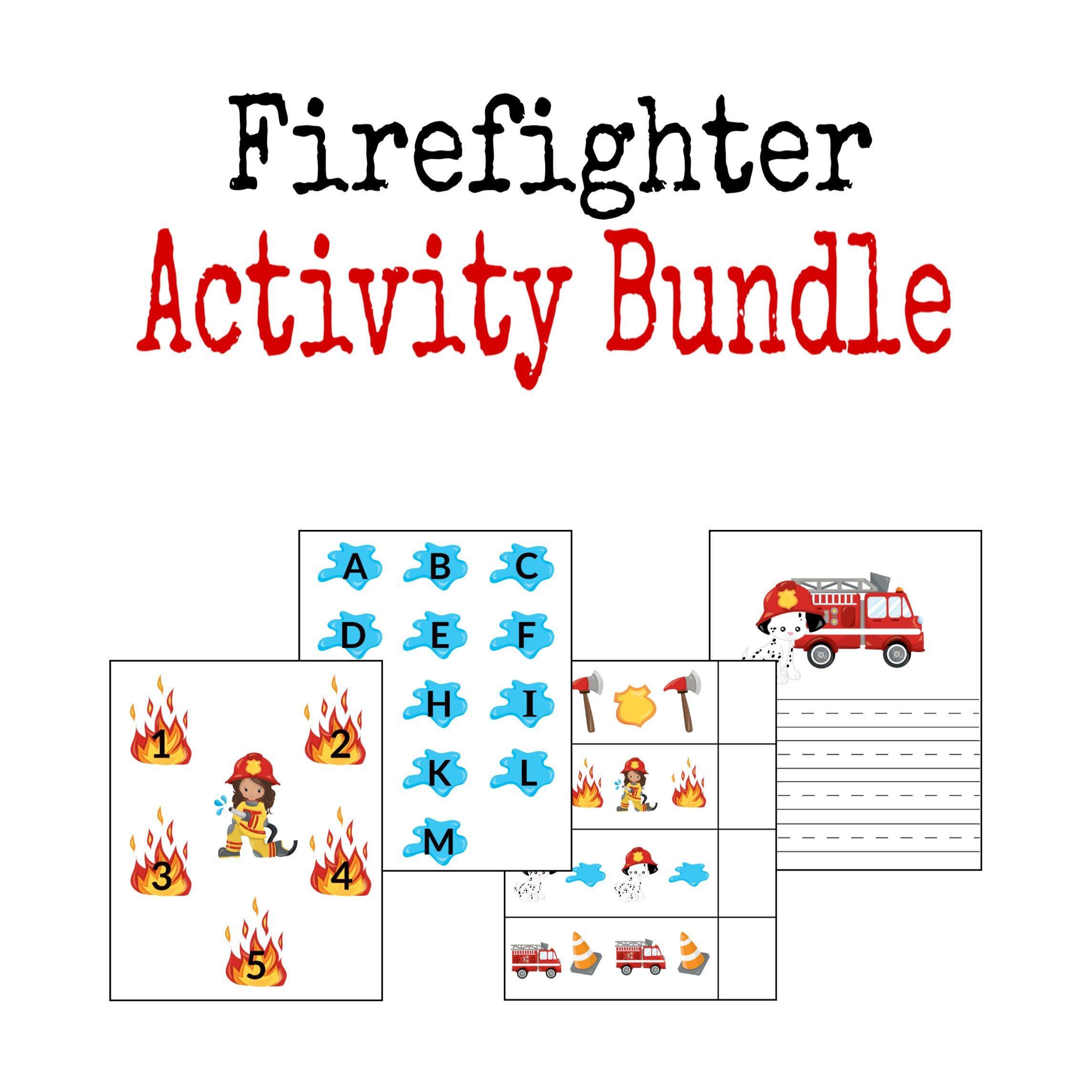 Firefighter File Folder Game Learning Activity Printable