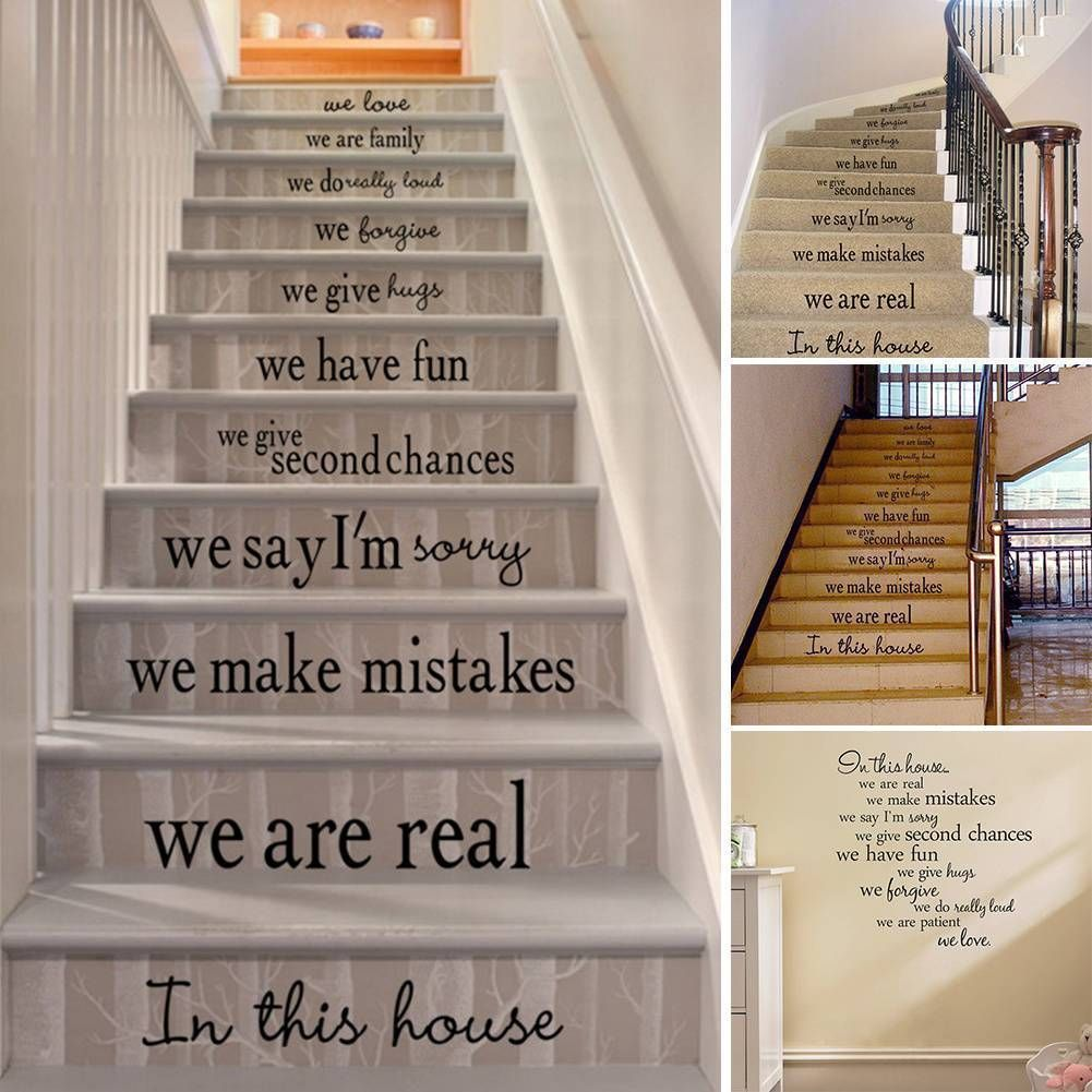 2 46 Removable We Are Family Floor Stair Art Words Vinyl Wall Paper Decal Art Sticker Ebay Stairs In Living Room Staircase Decor Wall Stickers Living Room