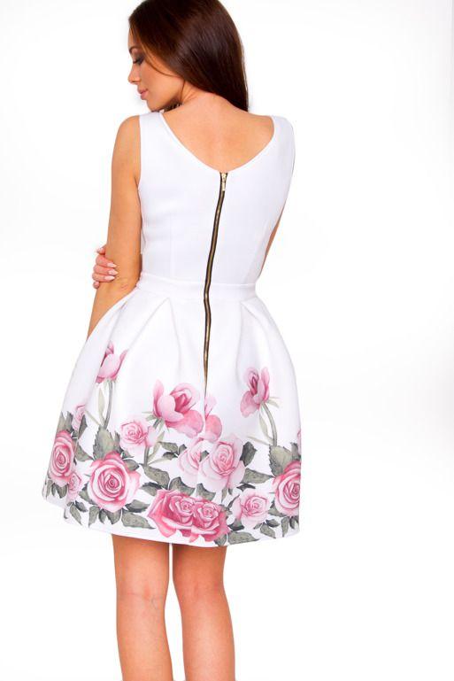 Rozkloszowana Sukienka Ecru W Roze Dresses Fashion Mini Dress