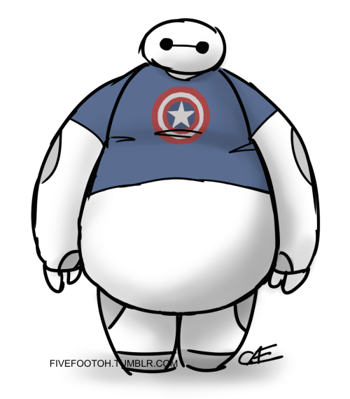 fivefootoh:  Baymax in a Captain America shirt. Because why not?