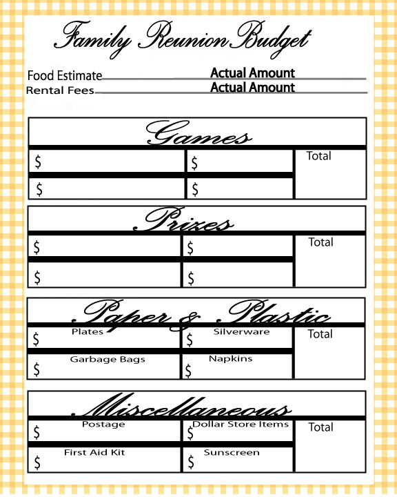 Free printable family reunion budget planner | Let\'s Get Crafty ...