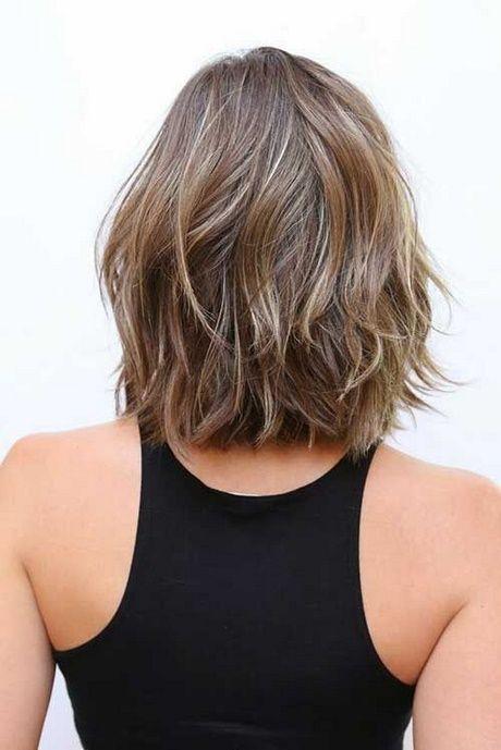 Rückansicht Des Schulterlangen Haares Stufenschnitt