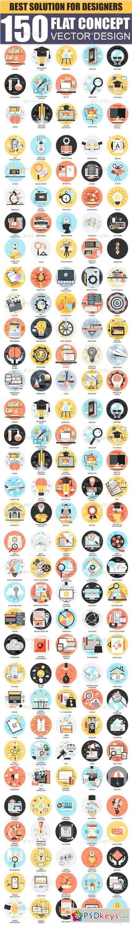 Set of Flat Design Concept Business Icons 18337040   PSDkeys