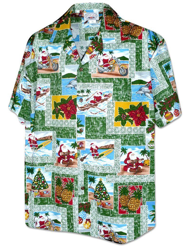 fdce2c86 Santa Christmas Green Shirt Island Tapa #410-3818 in 2019   Men's ...