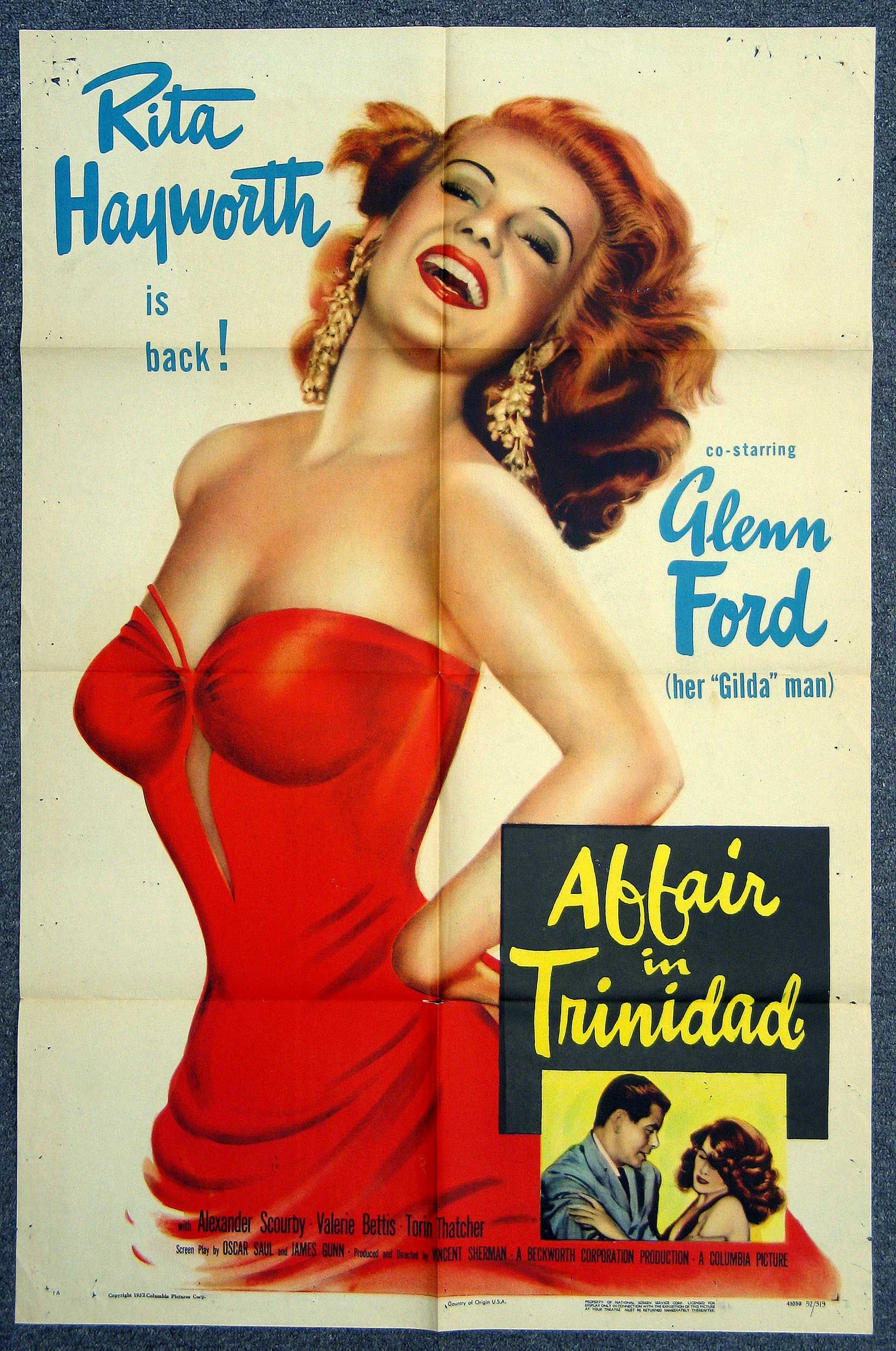 Gilda Vintage Rita Hayworth Movie  advert Wall art. Reproduction poster