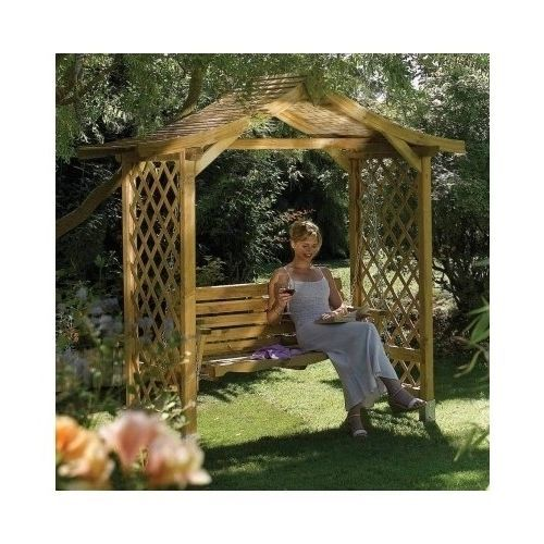 Garden Wooden Arbour Hanging Swing Seat Patio Roof Pergola Furntiture Decoration