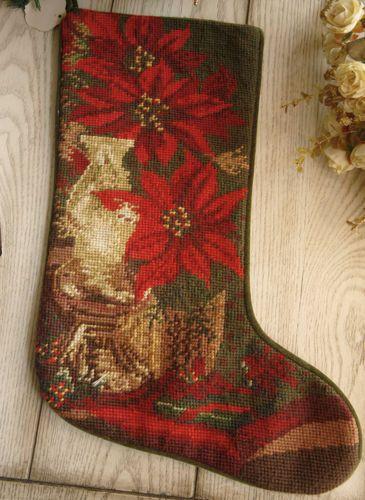 Beautiful-Handmade-Wool-Needlepoint-Christmas-Stocking-Poinsettia
