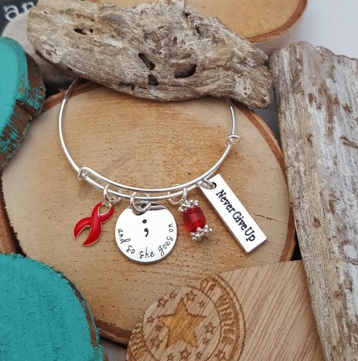 RE-1 Stroke Survivor And So She Goes On Semicolon Bracelet / Never Give Up Semi colon Jewelry Heart Disease Bracelet