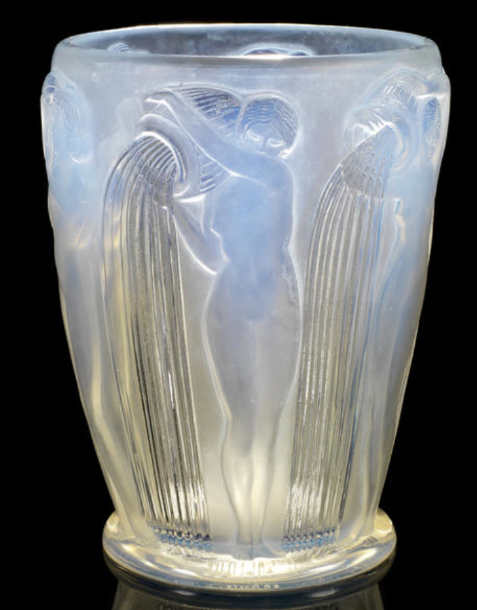 René Lalique  'Danaides' a Vase, design 1926  opalescent glass, frosted and polished  18cm high, engraved 'R. Lalique France'