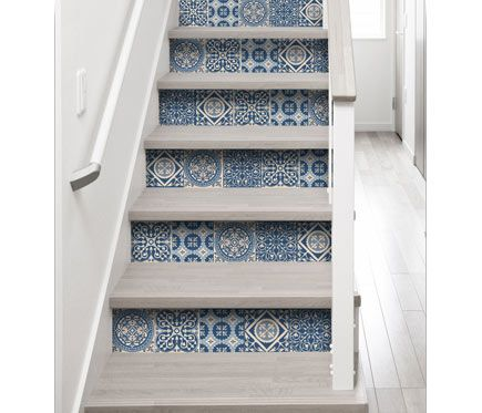 Textil adhesivo vintage azulejo azul leroy merlin casa for Azulejos adhesivos bano leroy merlin
