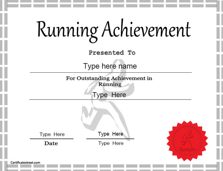 Sports certificate achievement in running for Fun run certificate template