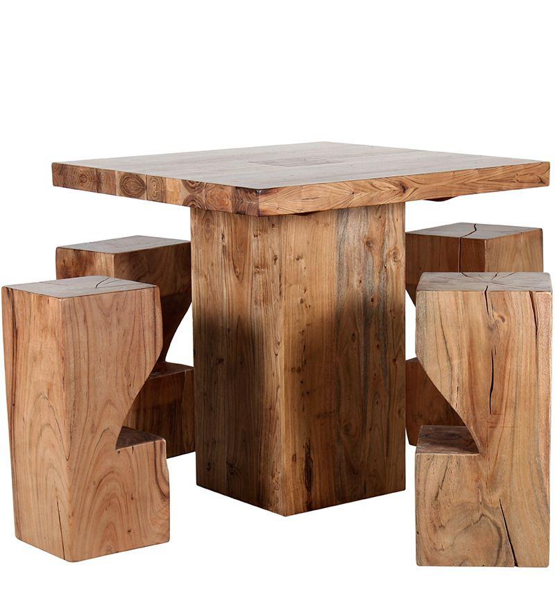 Portland Solid Wood Bar Table Set, Natural Furniture Portland