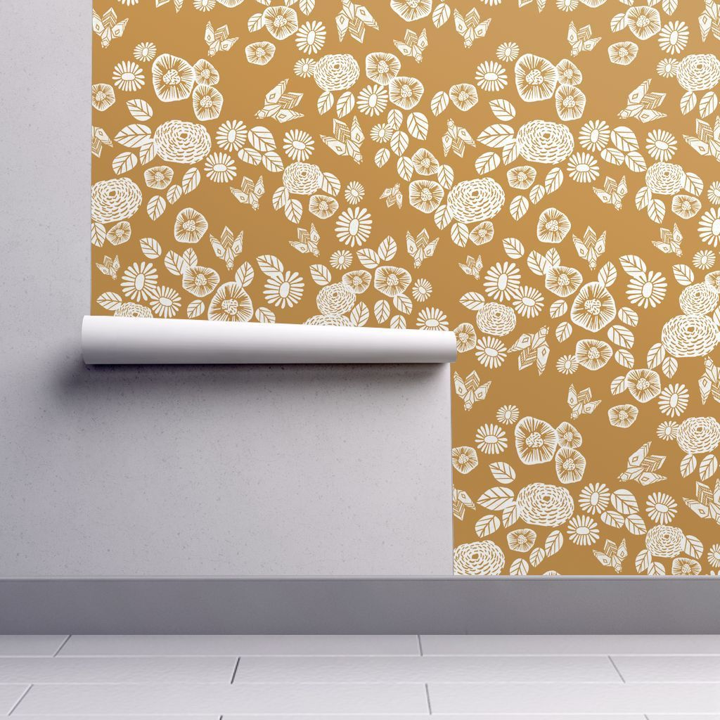Bee Garden Removable Wallpaper 2ft W x 1ft L Self
