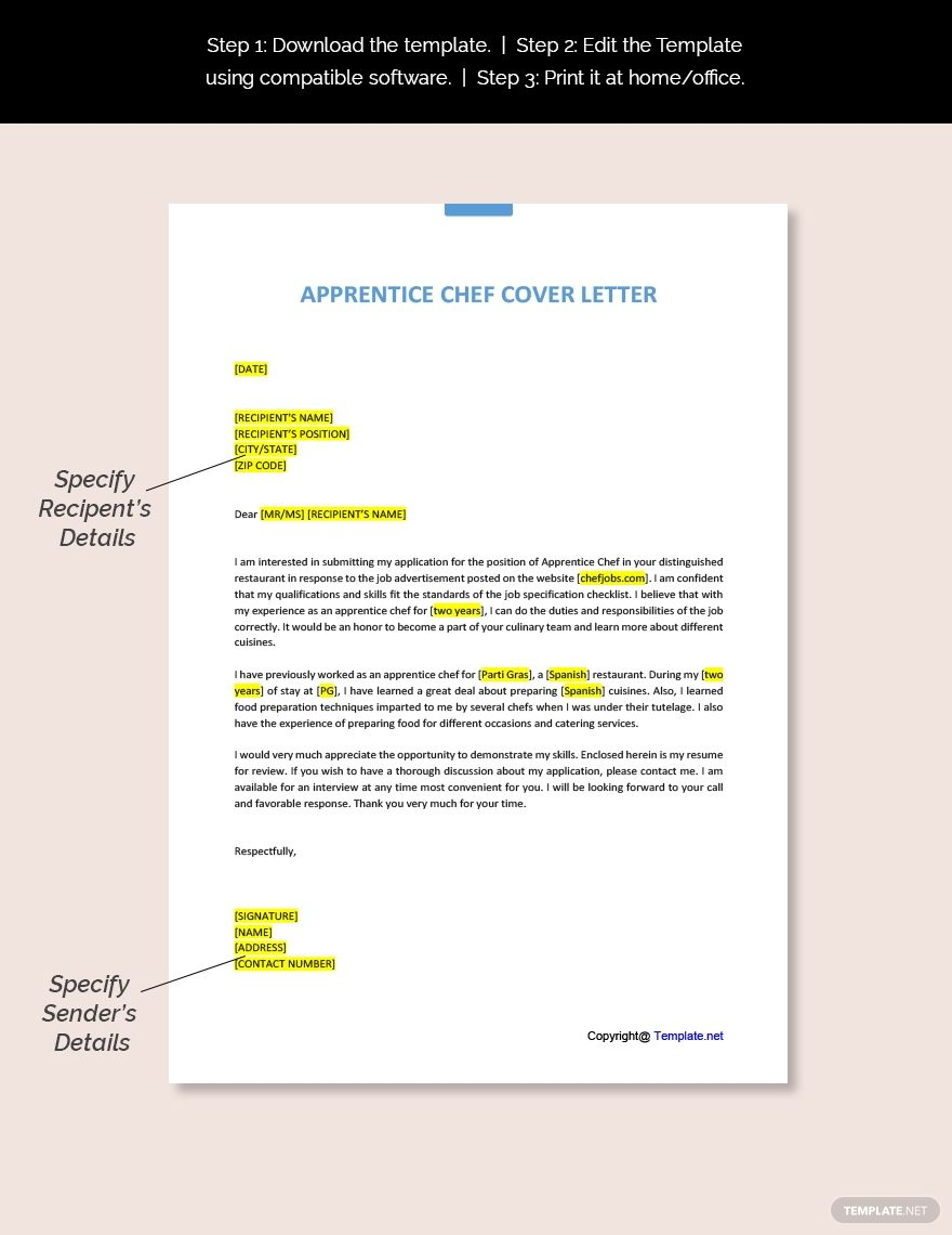 Apprentice Chef Cover Letter Template Free Pdf Google Docs Word Apple Pages Template Net Cover Letter Template Cover Letter Template Free Cover Letter