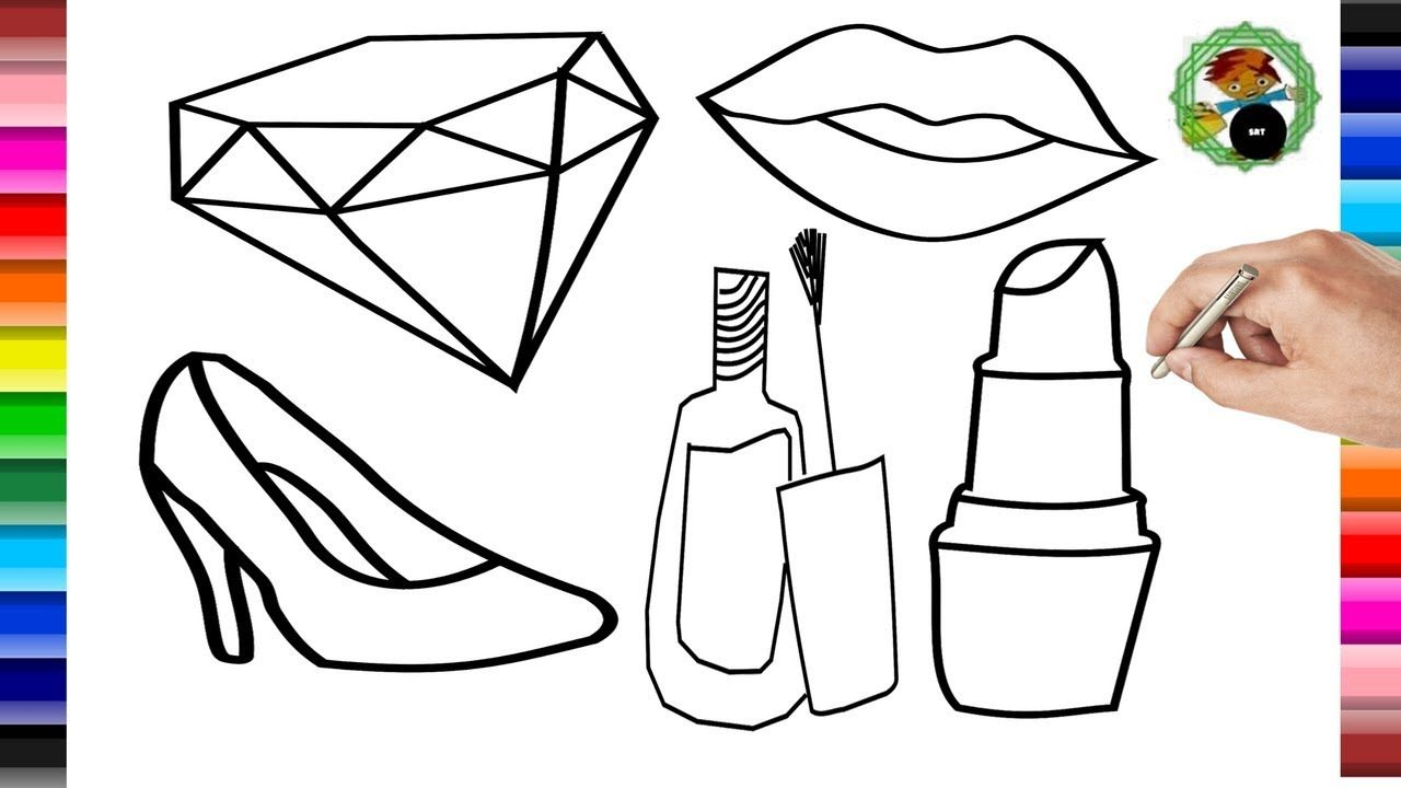 Makeup Coloring Pages for Girl Coloring Accessory Learning How to ...