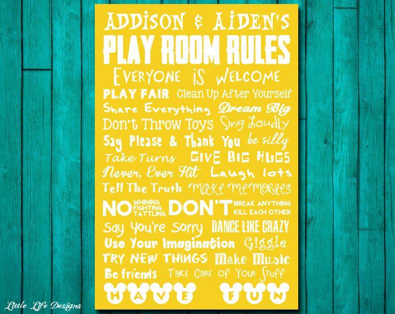 Playroom Rules Sign. Playroom Decor. Playroom Wall Art. Playroom ...
