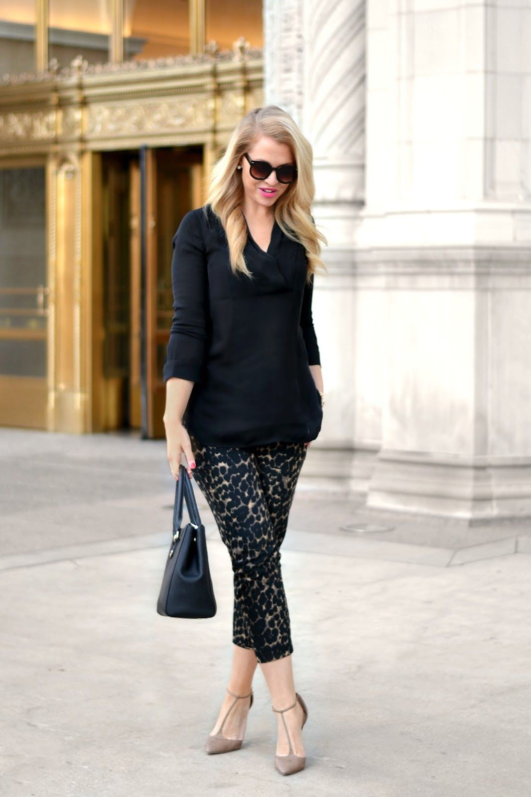 Silk blouse + leopard pants.