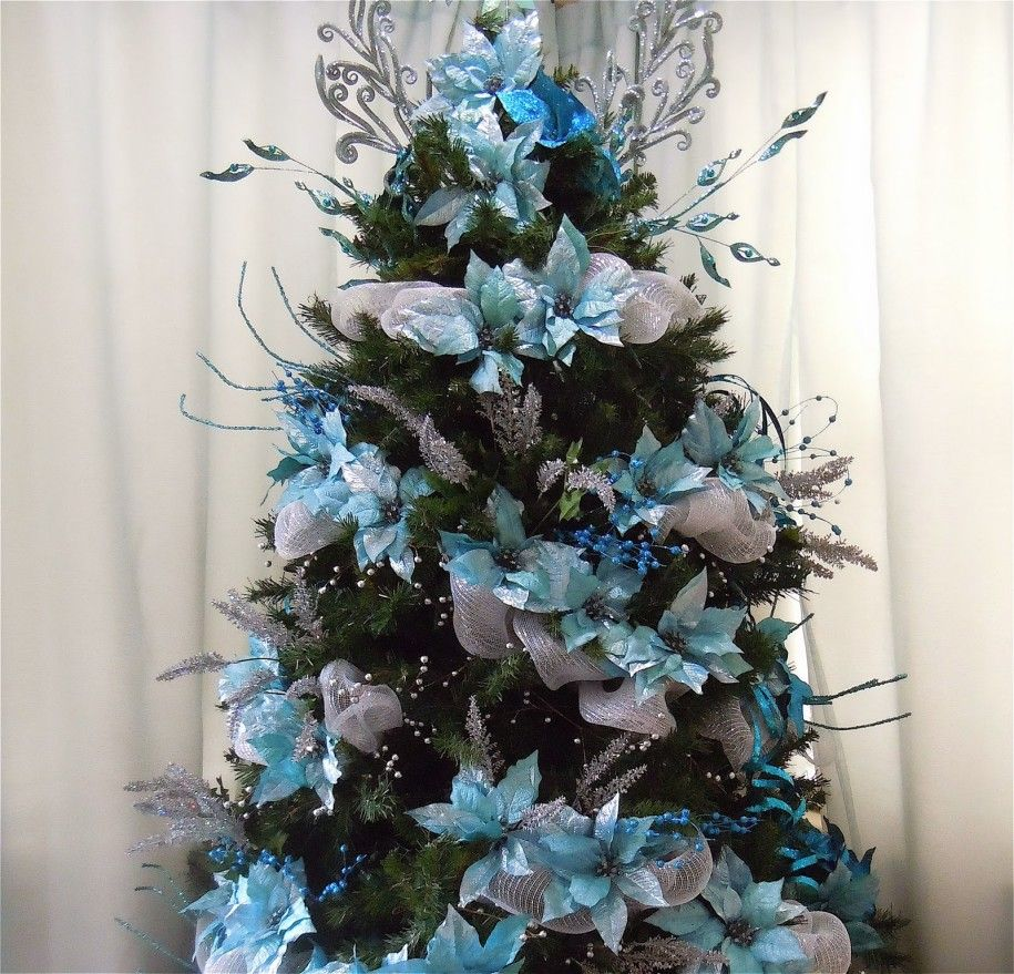 Decoracion De Arbol Navide O 2015 Silver Christmas Tree Turquoise Christmas Tree Turquoise Christmas
