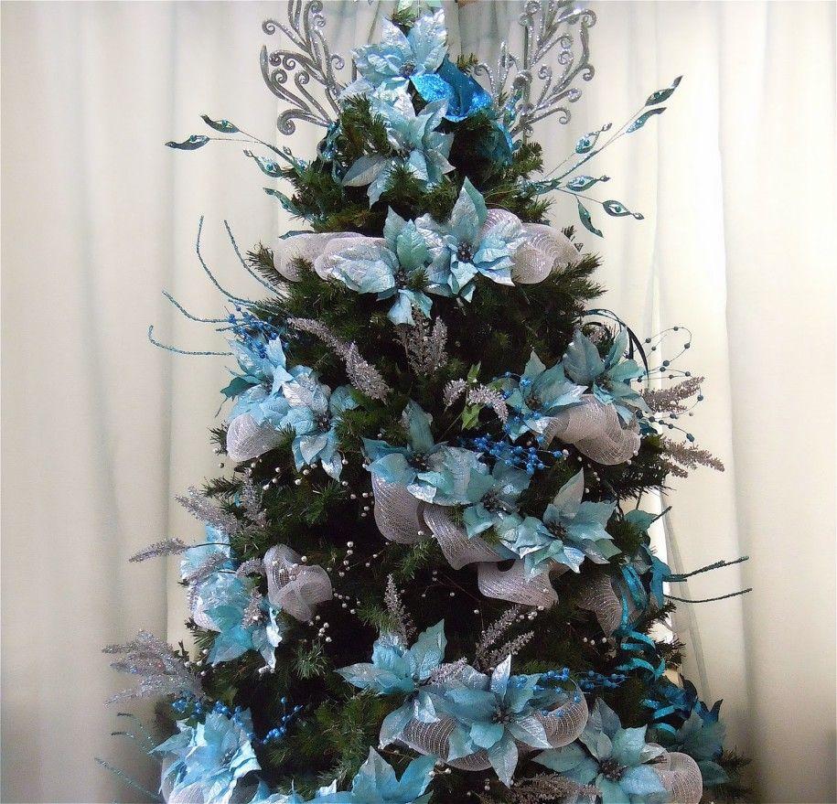 Como decorar un arbol de navidad azul plata y blanco - Como adornar un arbol de navidad blanco ...