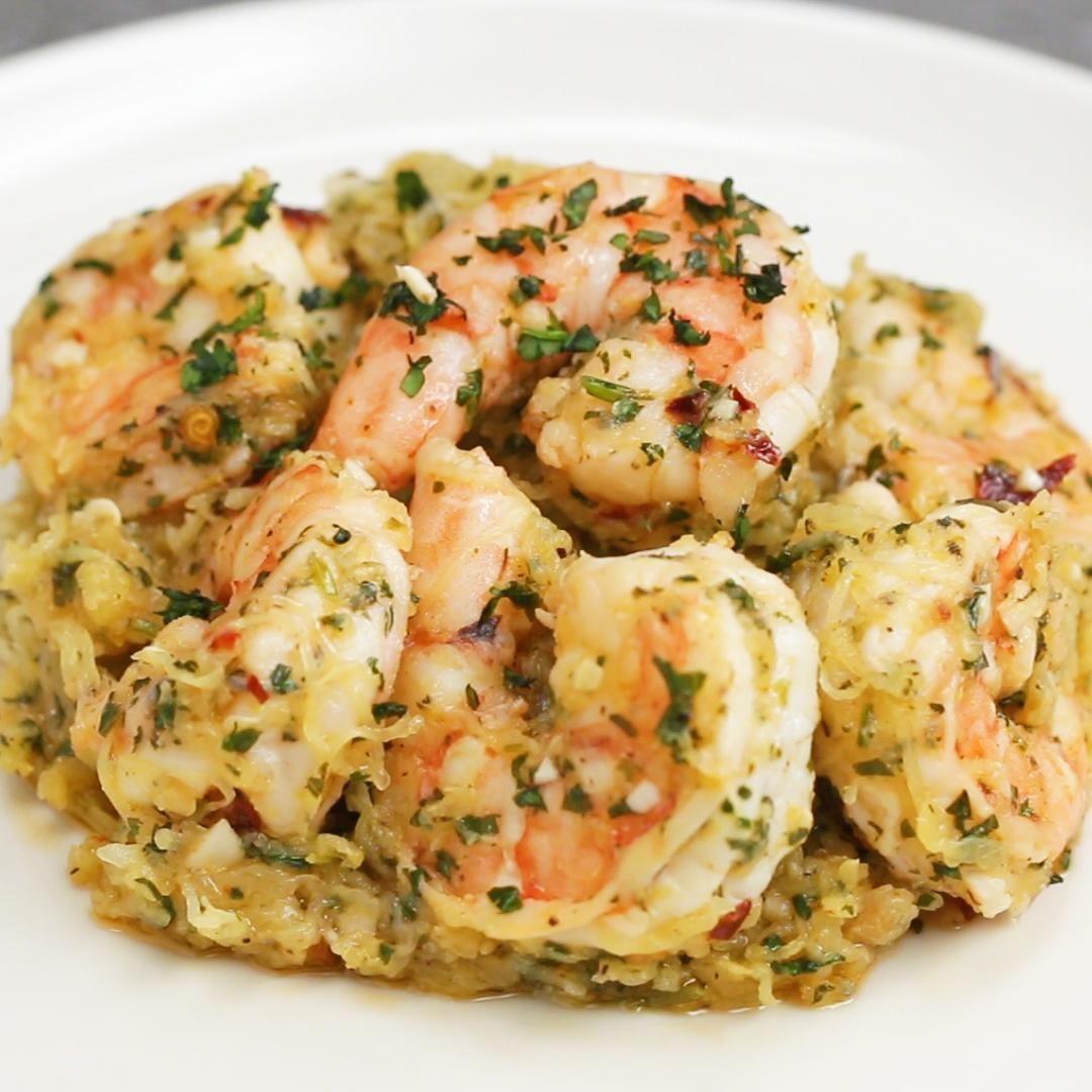 Spaghetti Squash Shrimp Scampi #shrimpscampi