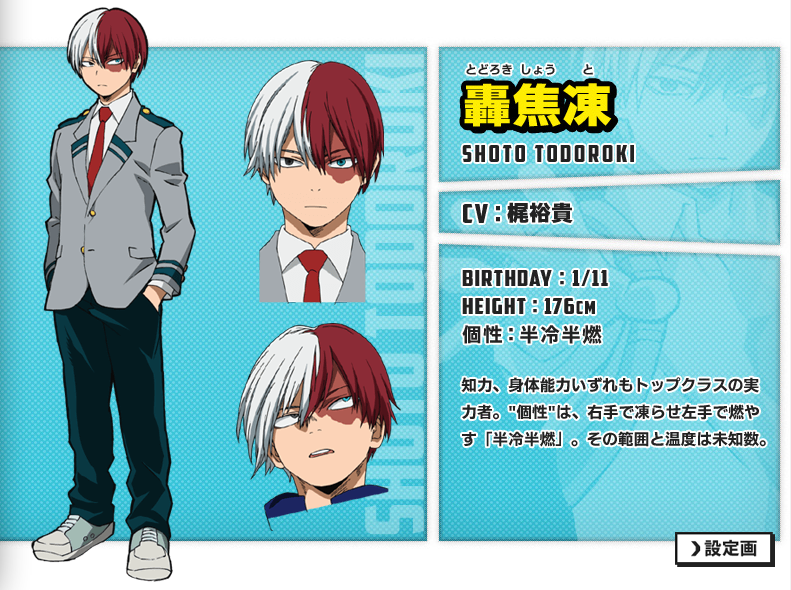Todoroki Shōto,A student in class 1-A  His Quirk is Fire and