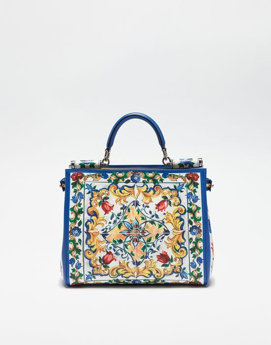 BORSA SHOPPING SICILY IN PELLE DAUPHINE STAMPATA - Borse shopping - Dolce&Gabbana - Inverno 2016