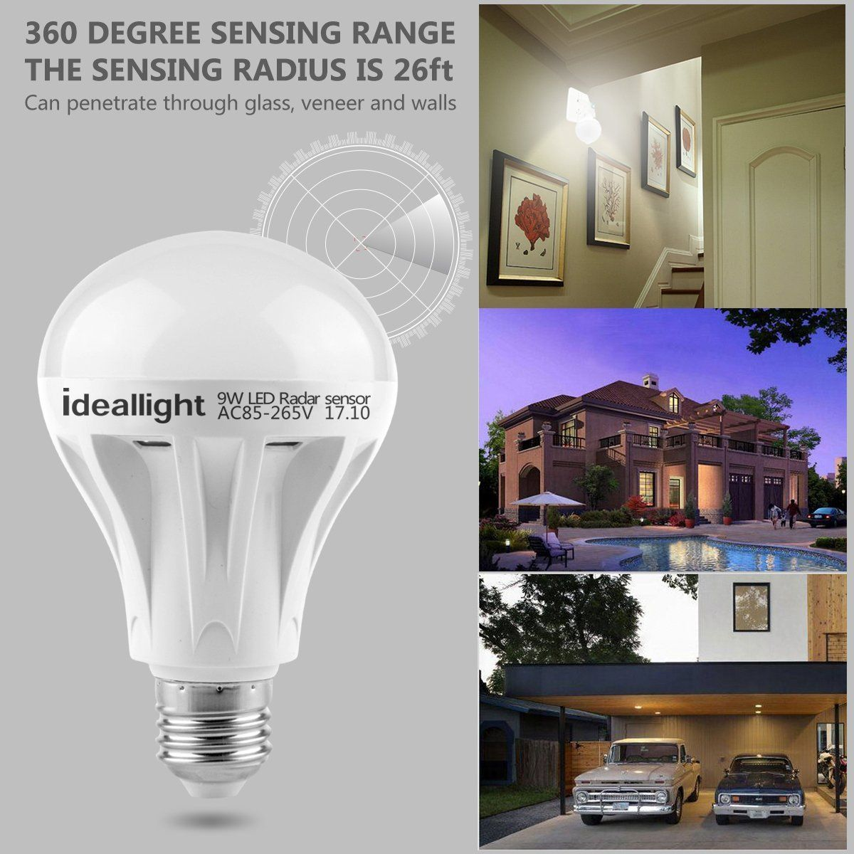 Motion Sensor Light Bulb Radar Motion Activated Led Bulb Dusk To Dawn E26 E27 Auto On Off Indoor Outdoor Movement Detector Night Light For Front Door Hallway St Motion Sensor Lights Light Sensor Sensor Night sensor for outdoor lights