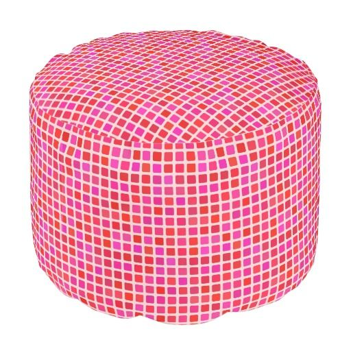 Pink Mosaic Tile Stackable Ottoman Round Pouf