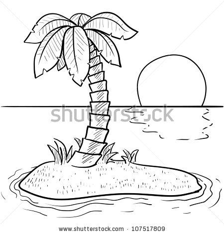 Doodle style tropical or deserted island with palm tree and sunset ...