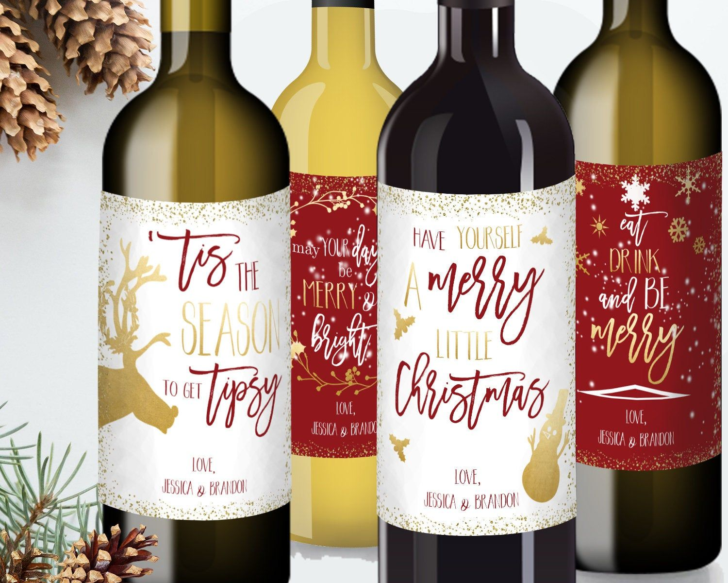 Personalized Holiday Wine Label Collection Christmas Wine Label 4 Pack Funny Christmas Gift Idea Fo Christmas Wine Label Wine Label Stickers Holiday Wine Label