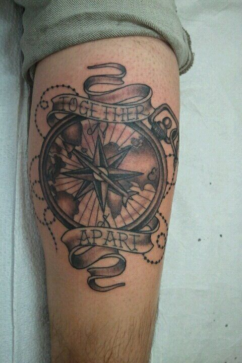 Chris Greenwald, Super Genius Tattoo, Seattle WA, black and grey tattoo, compass, banners, lettering