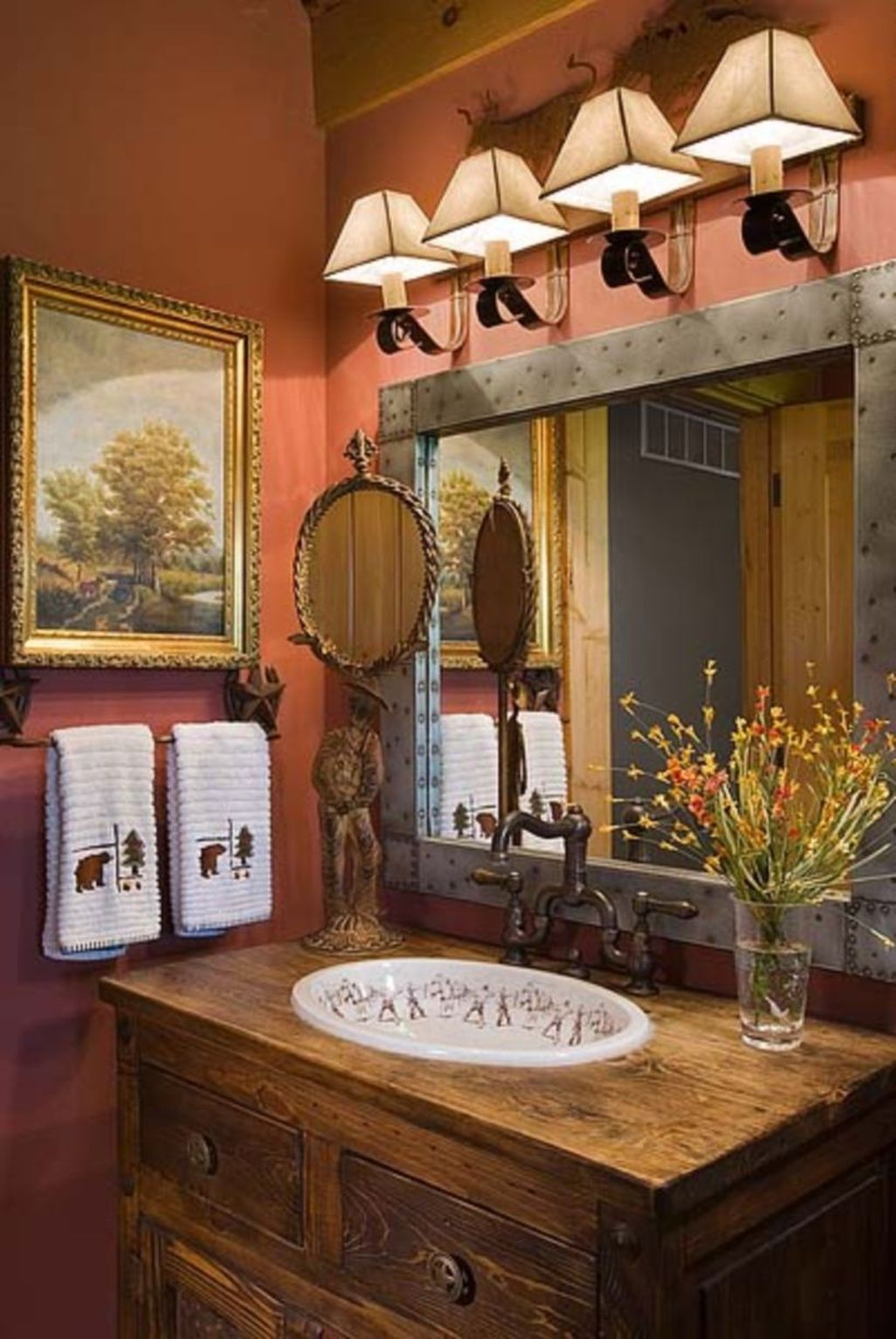 Awesome 48 Awesome Country Mirror Bathroom Decor Ideas ...