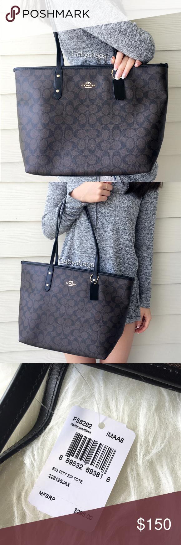 Coach F58292 Signature Zip Tote Brown Boutique Pinterest New City Handbag Womens Style
