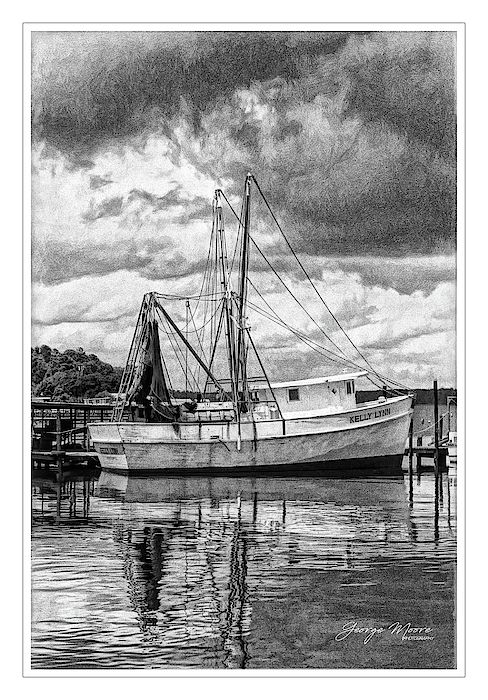 Shrimp Trawler at Dockside The quiet fishing harbor of Fulcher's Landing at Sneads Ferry, NC offers