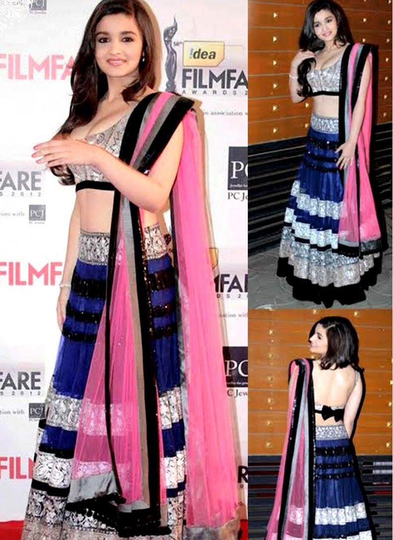 9d4f4e1cd3 Classic Alia Bhatt Blue Party Wear Lehenga Choli | SHAANDAAR Alia ...
