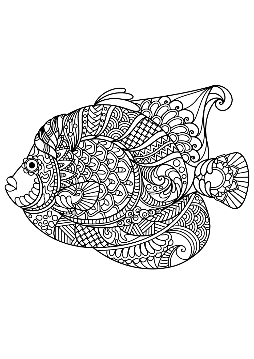 Fish With Complex And Beautiful Patterns Fish Coloring Page Animal Coloring Books Coloring Pages