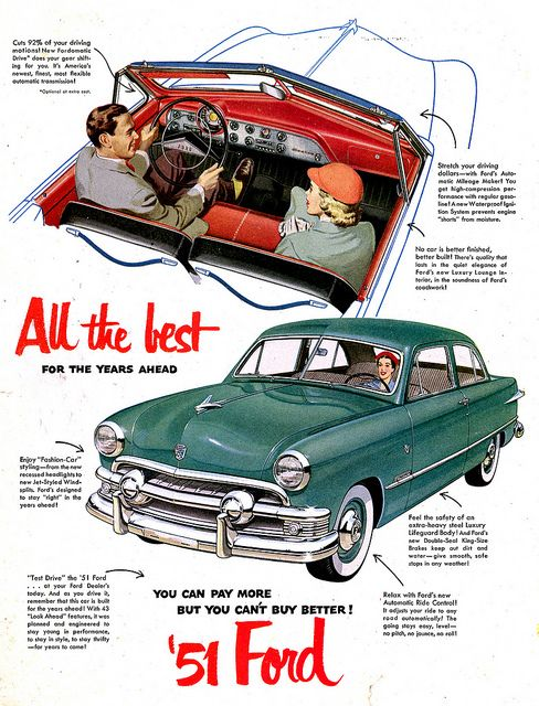 1951 Ford Ford Automobile Advertising Ford Classic Cars