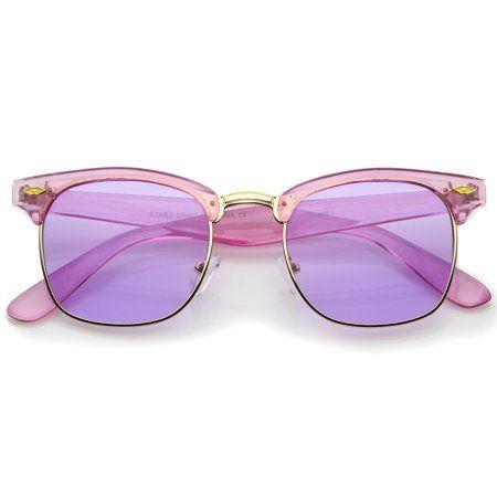 4d212e7815c Colorful Transparent Horn Rimmed Tinted Lens Half-Frame Sunglasses 49mm  (Purple-Gold   Purple)